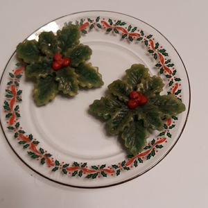 Holly Plate and Candles